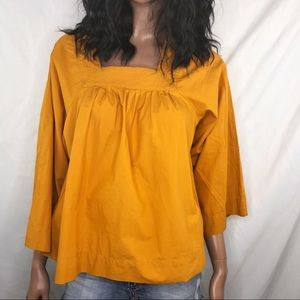 Madewell Mustard Color Square-Neck Top